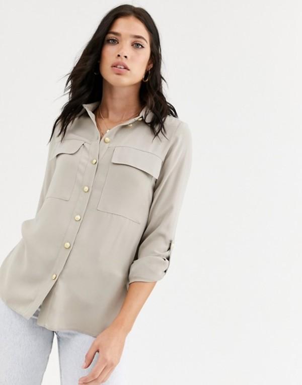 リバーアイランド レディース シャツ トップス River Island satin shirt with oversized pockets in cream Cream dark
