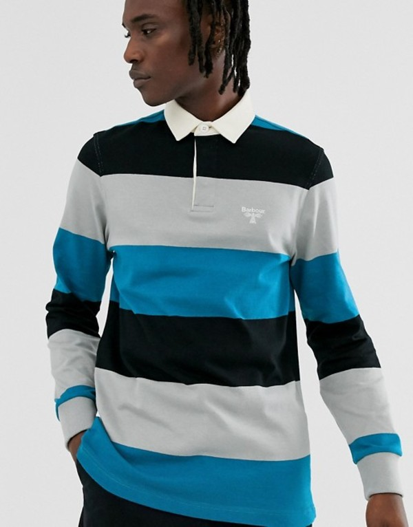 バーブァー メンズ シャツ トップス Barbour Beacon stripe rugby sweat in blue Blue