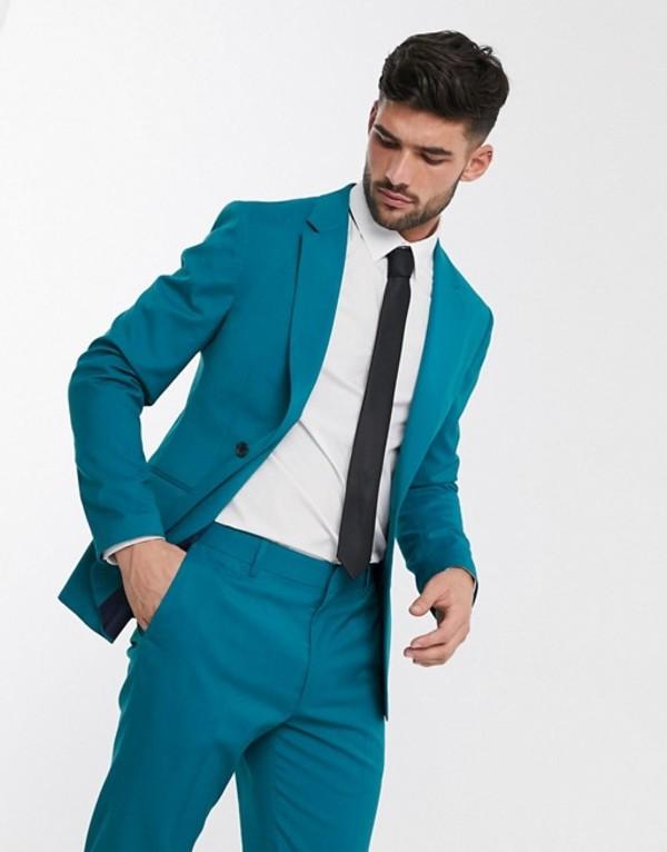 エイソス メンズ ジャケット・ブルゾン アウター ASOS DESIGN skinny suit jacket in teal Teal