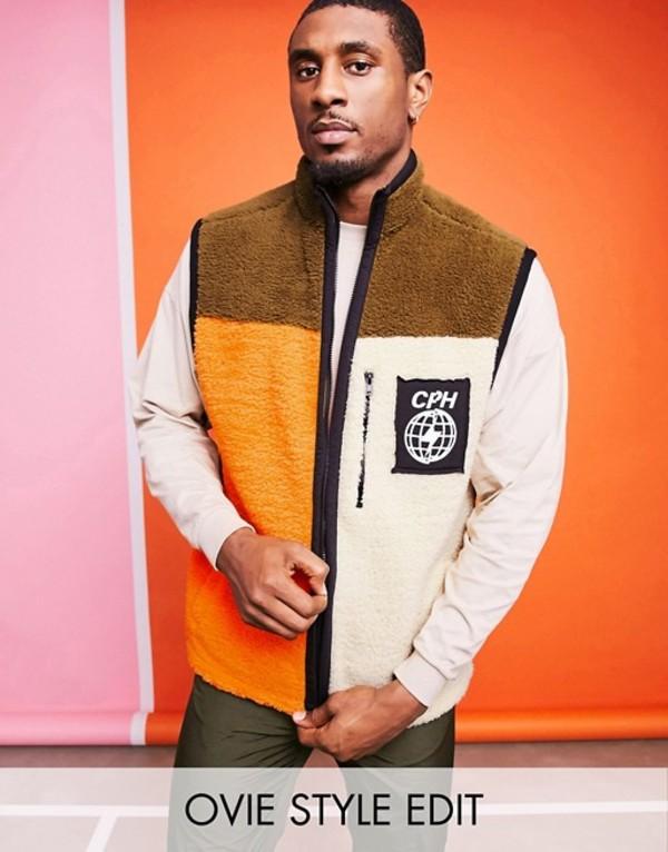 エイソス メンズ ジャケット・ブルゾン アウター ASOS DESIGN teddy borg color block vest jacket Multi
