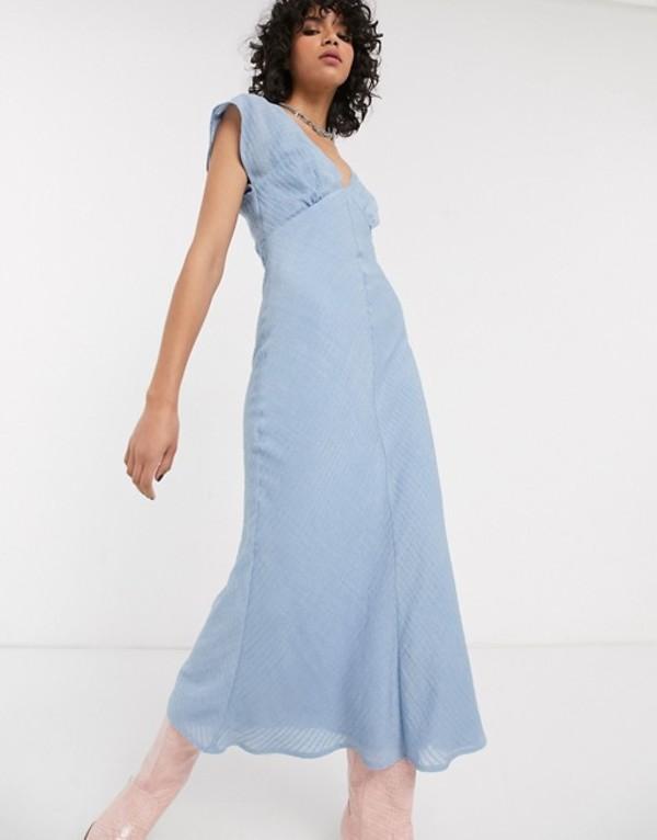エモリー パーカー レディース ワンピース トップス Emory Park maxi tea dress in fine stripe Blue