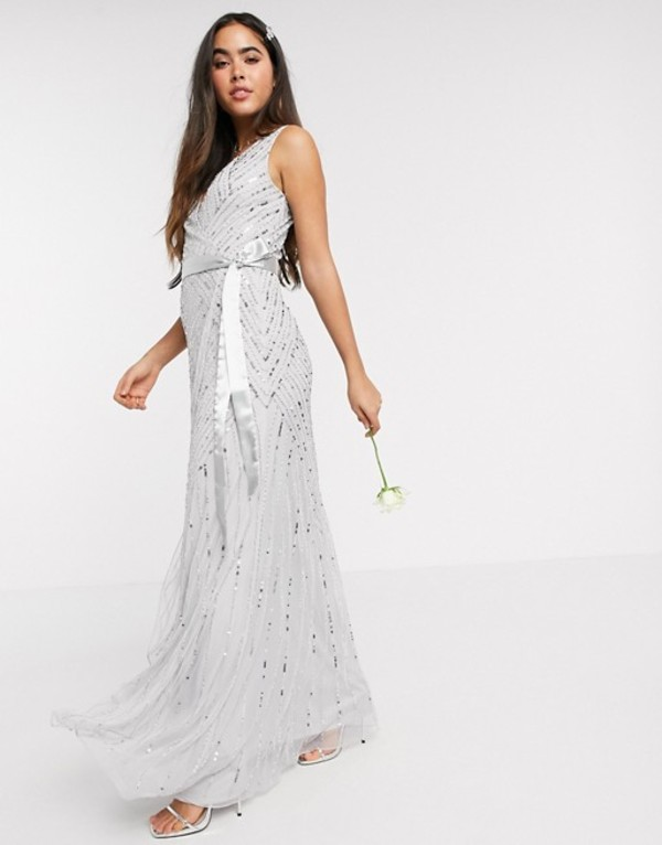 アメリアローズ レディース ワンピース トップス Amelia Rose Bridesmaid embellished wrap maxi dress in silver Silver