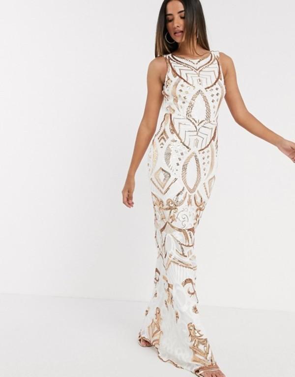 ゴッドディバ レディース ワンピース トップス Goddiva seqiun embrioded maxi dress in white and gold White
