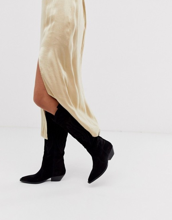 エイソス レディース ブーツ・レインブーツ シューズ ASOS DESIGN Cobra premium suede western knee high boots in black Black suede