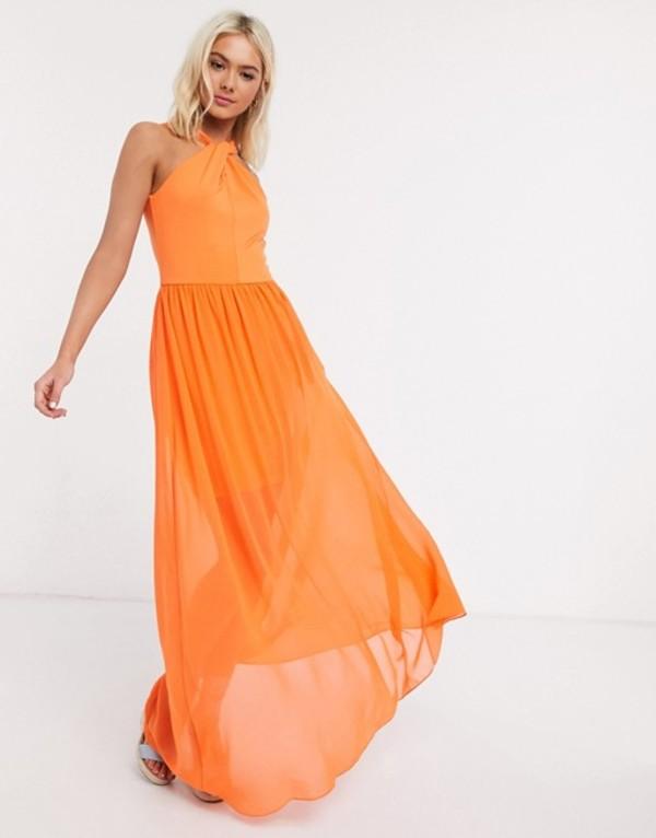 フレンチコネクション レディース ワンピース トップス French Connection twist halter maxi dress Sunshine orange