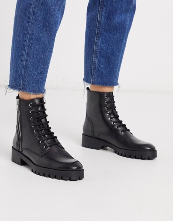 マンゴ レディース ブーツ・レインブーツ シューズ Mango lace front leather biker boots in black Black