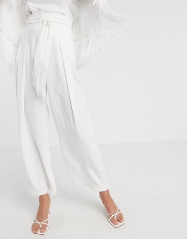 リバーアイランド レディース カジュアルパンツ ボトムス River Island tassel wide leg pants two-piece in white White