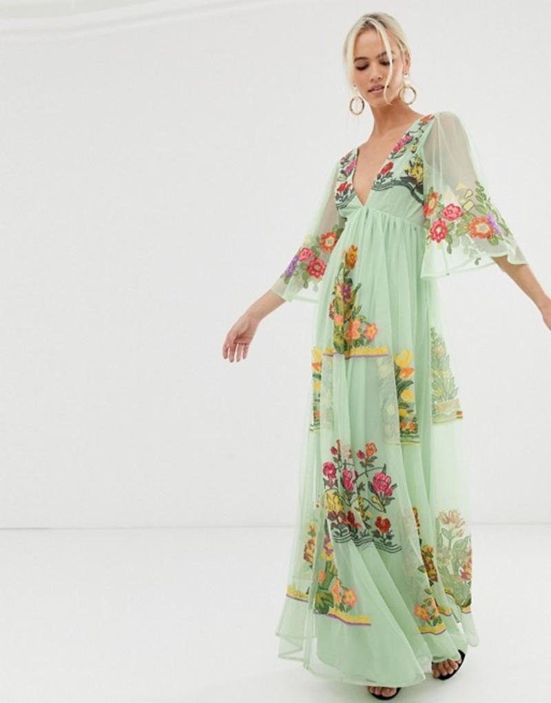 エイソス レディース ワンピース トップス ASOS EDITION v neck flutter sleeve embroidered maxi dress Multi