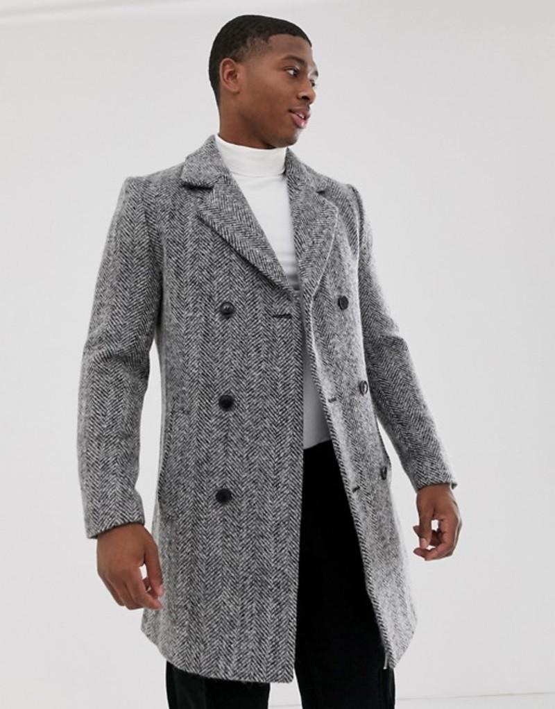 ブーフーマン メンズ コート アウター boohooMAN wool blend double breasted overcoat in gray Gray