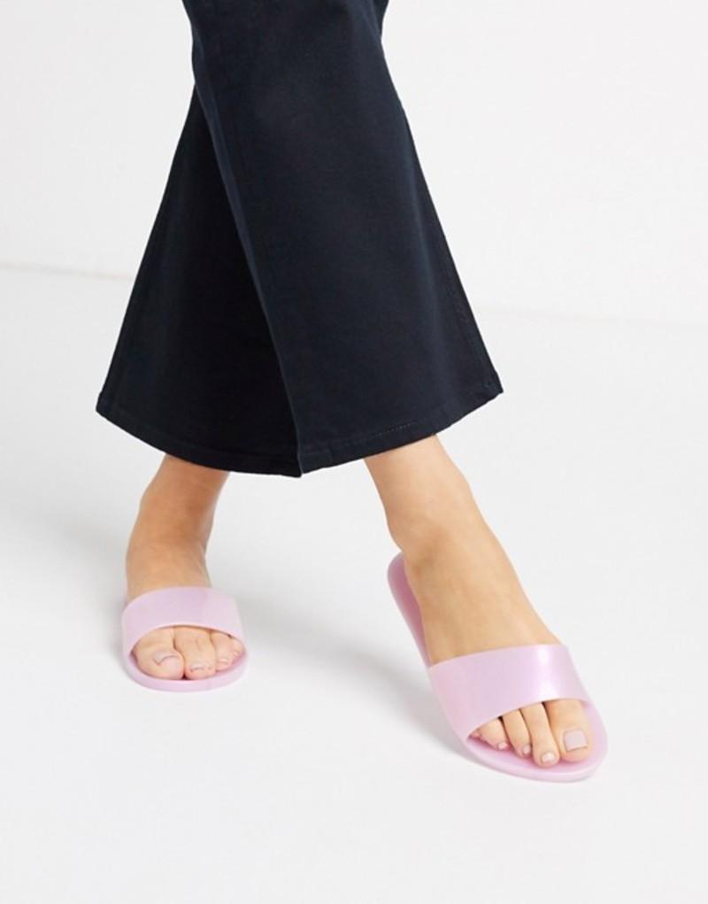 エイソス レディース サンダル シューズ ASOS DESIGN Fern jelly sliders in pink Pink pearlised