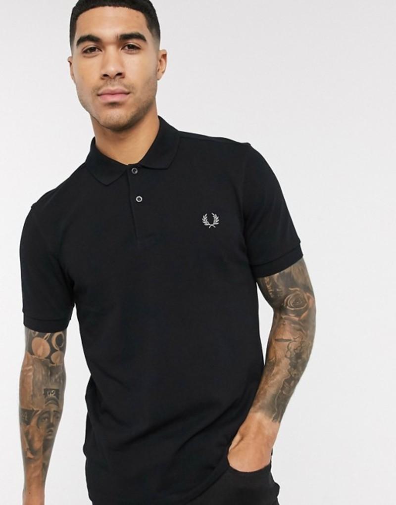 フレッドペリー メンズ シャツ トップス Fred Perry plain polo shirt in black Black/chrome