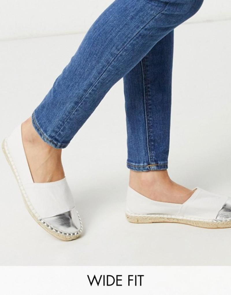 ロンドンレベル レディース サンダル シューズ London Rebel wide fit toe cap espadrilles in white White/silver