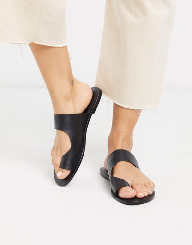 エイソス レディース サンダル シューズ ASOS DESIGN Frome toe loop flat sandals in black Black