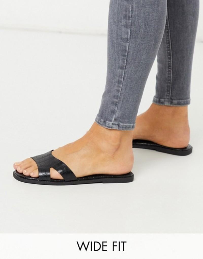 トリュフコレクション レディース サンダル シューズ Truffle Collection wide fit square toe flat sliders in black Black croc