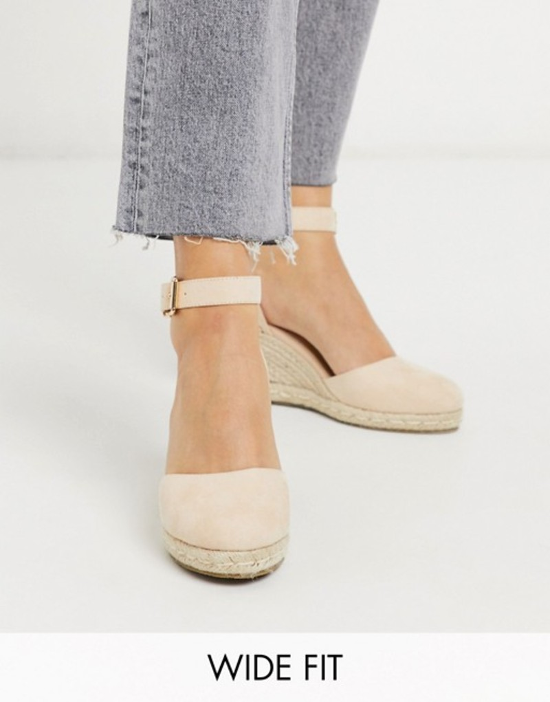 トリュフコレクション レディース サンダル シューズ Truffle Collection wide fit heeled espadrille wedges in beige Beige micro