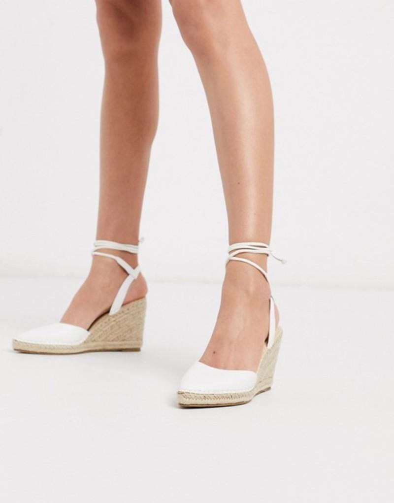 トリュフコレクション レディース サンダル シューズ Truffle Collection heeled tie leg espadrille wedges in white White pu