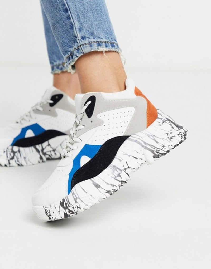 キューピッド レディース スニーカー シューズ Qupid marble sole extreme chunky flatform sneakers in multi Multi grey/orange