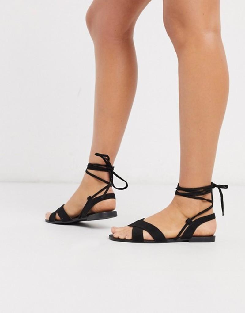 キューピッド レディース サンダル シューズ Qupid tie leg flat sandals in black Black micro