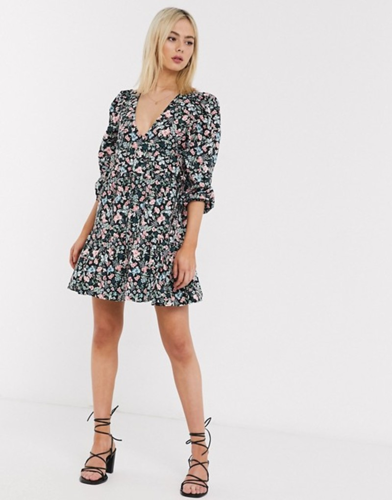 エイソス レディース ワンピース トップス ASOS DESIGN cotton trapeze mini dress in vintage floral print Black based floral