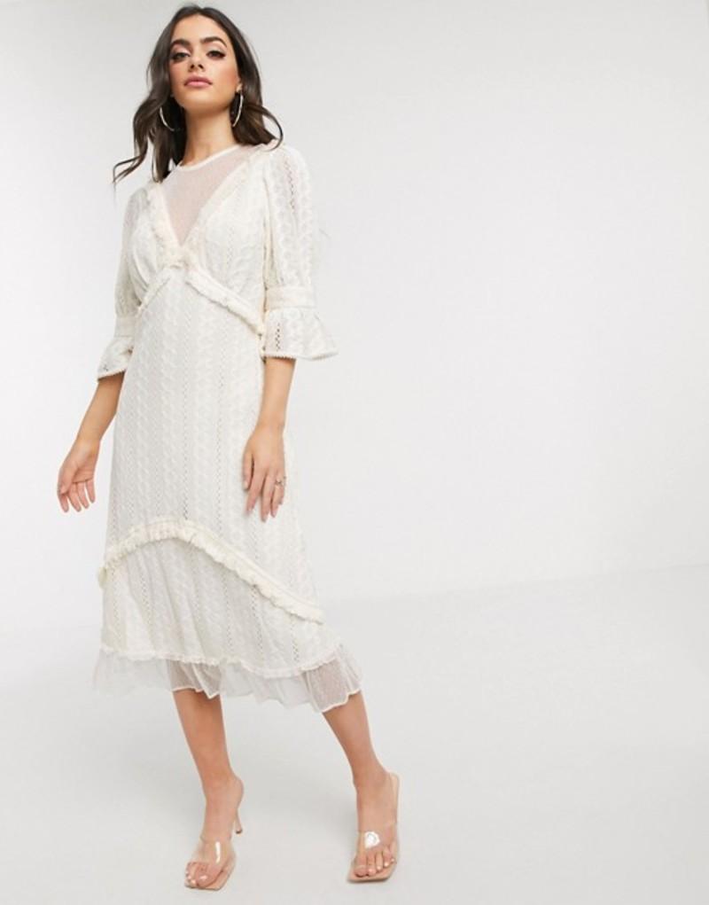 スティービーメイ レディース ワンピース トップス Stevie May Gallery lace midi dress Cream