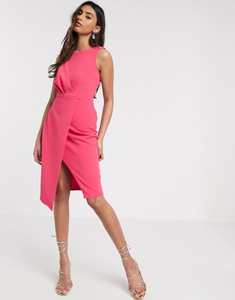 クローゼットロンドン レディース ワンピース トップス Closet London pleated front pencil dress in fuchsia Pink