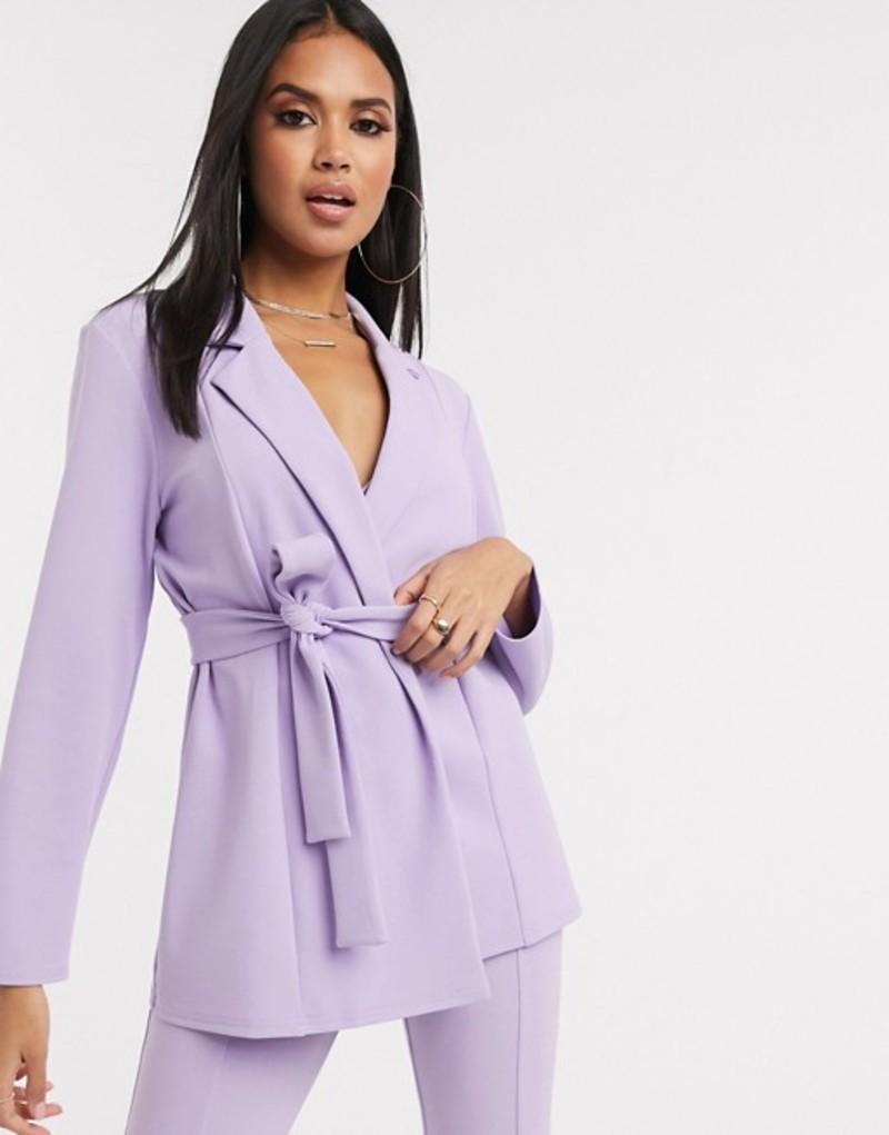 エイソス レディース ジャケット・ブルゾン アウター ASOS DESIGN jersey wrap suit blazer Lilac