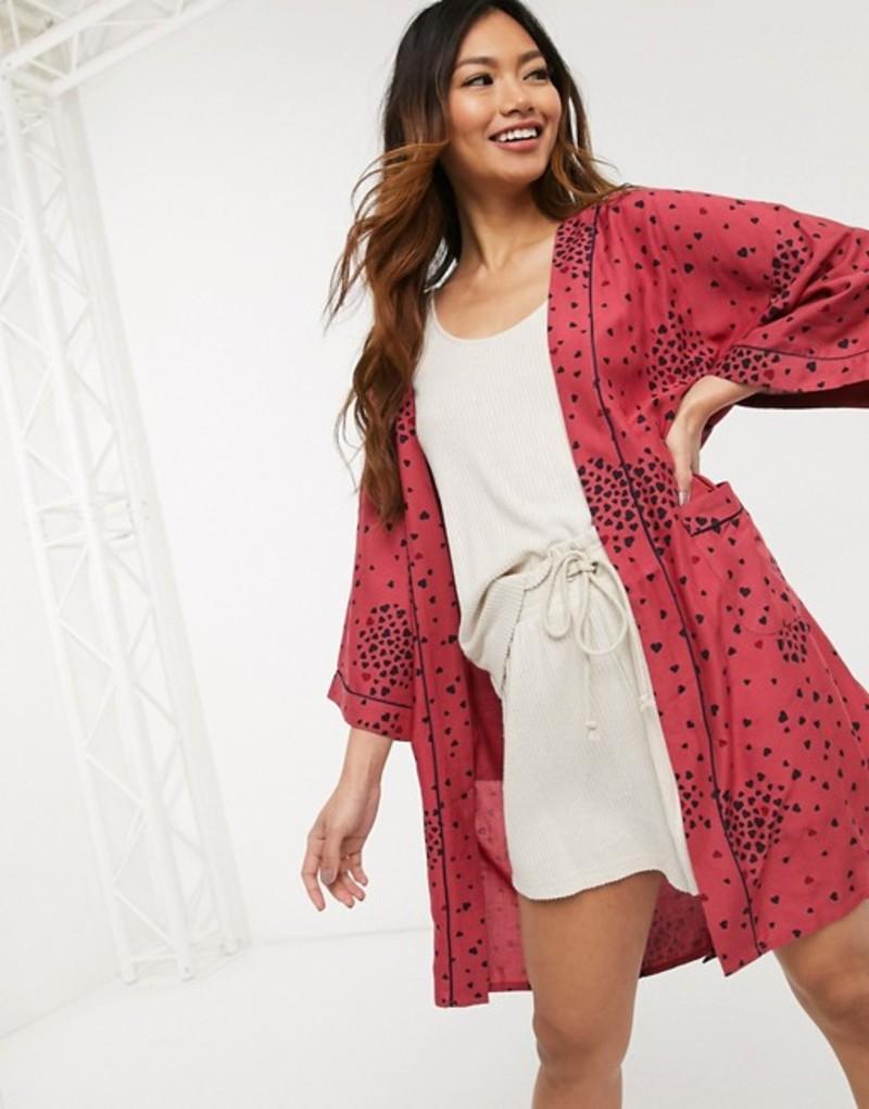 オアシス レディース コート アウター Oasis lightweight robe in dark heart print Heart print