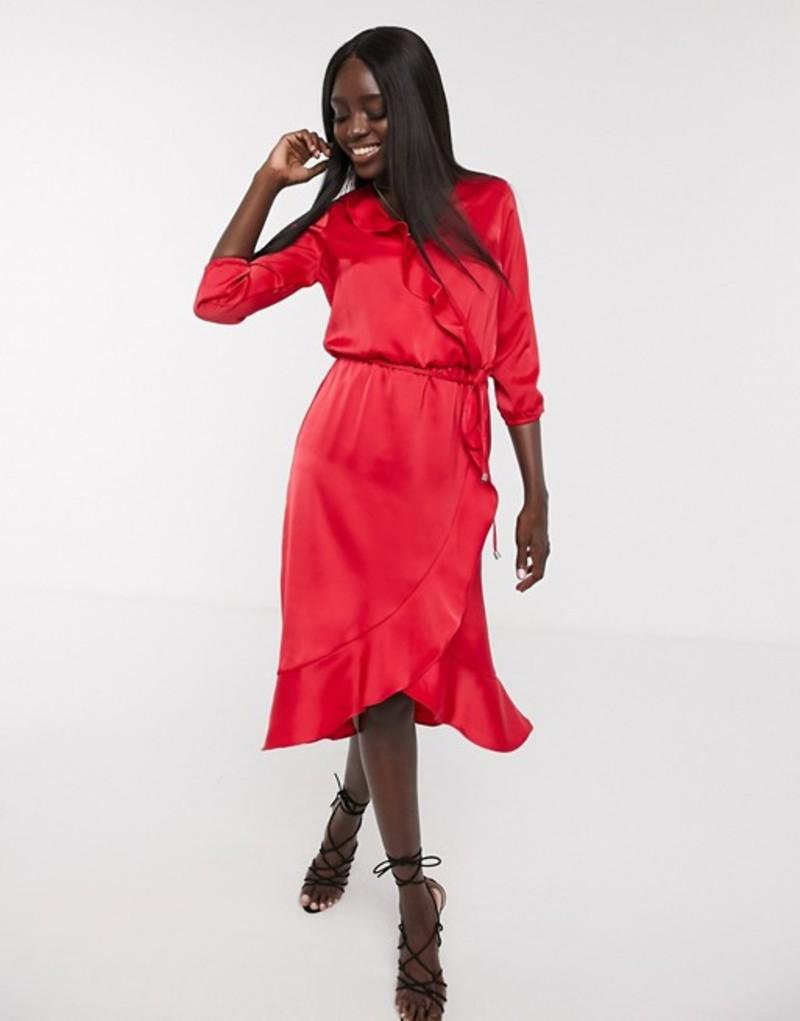 オアシス レディース ワンピース トップス Oasis frill wrap midi dress in red Red