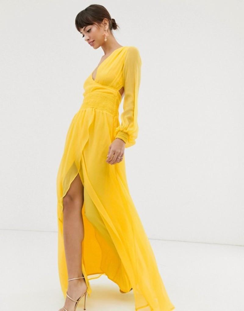 エイソス レディース ワンピース トップス ASOS DESIGN maxi dress with smocking and balloon sleeve Bright yellow