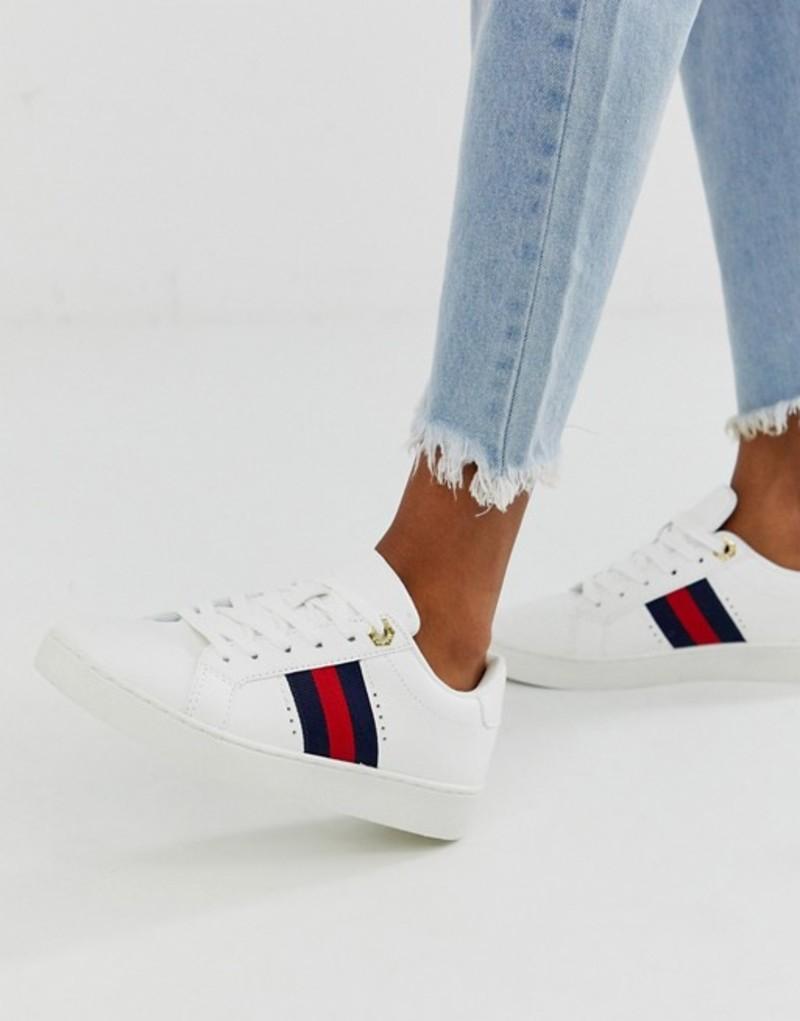 リバーアイランド レディース スニーカー シューズ River Island lace up sneaker with side stripe in white White