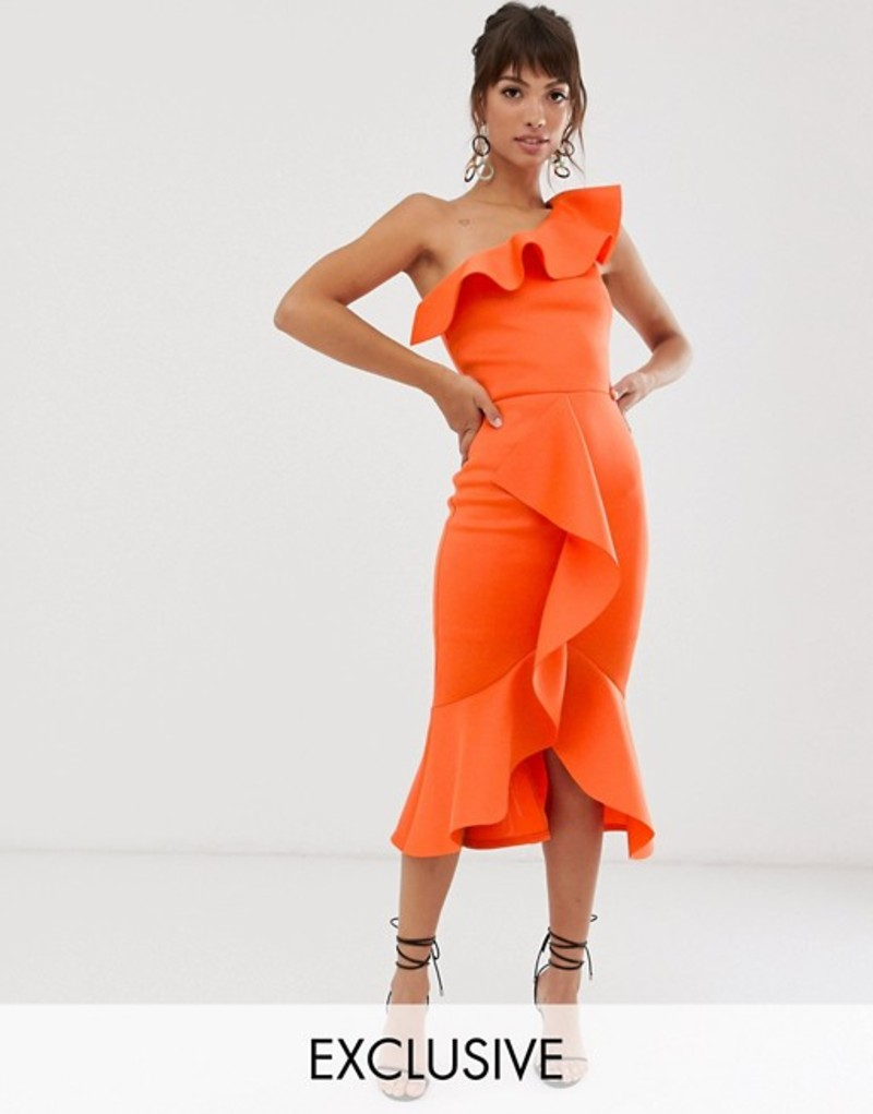 トゥルーバイオレット レディース ワンピース トップス True Violet exclusive one shoulder frill bodycon dress in orange Orange
