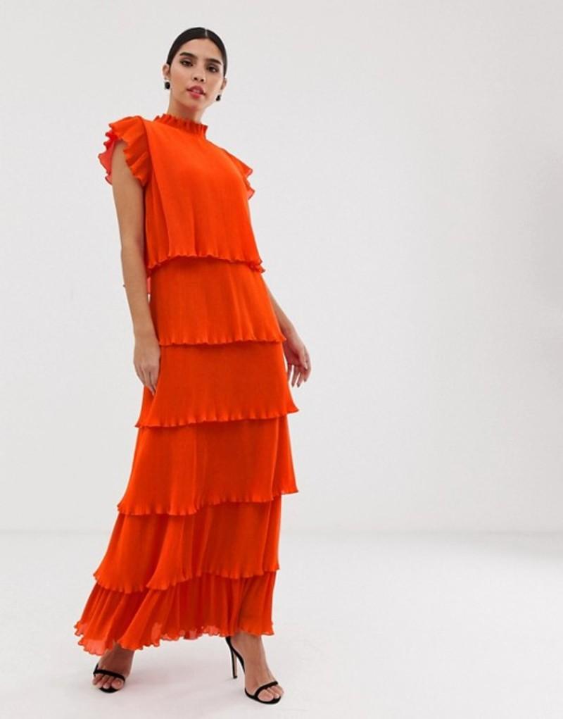 ワイエーエス レディース ワンピース トップス Y.A.S pleated tiered maxi dress Orange