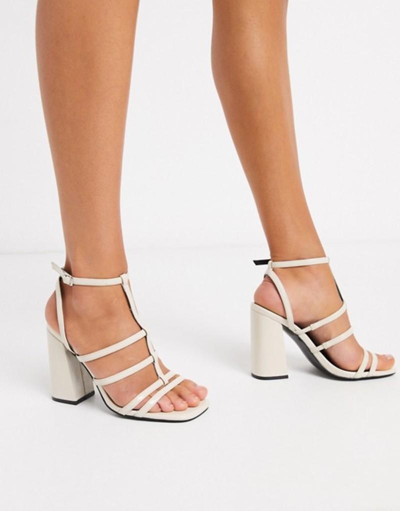 エイソス レディース サンダル シューズ ASOS DESIGN Nobel caged block heeled sandals in bone Bone