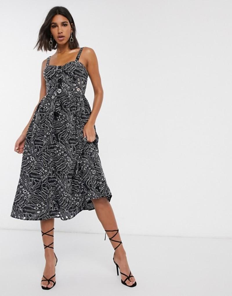 エイソス レディース ワンピース トップス ASOS DESIGN cami midi prom dress in palm broderie with contrast stitching in black Black