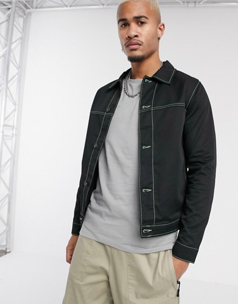 ジャック アンド ジョーンズ メンズ ジャケット・ブルゾン アウター Jack & Jones Core neon contrast stitch twill jacket in black Black