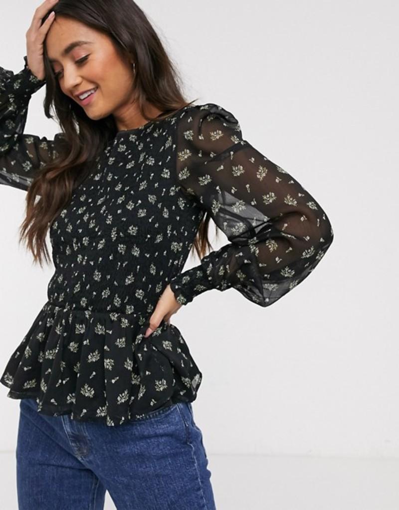 ミスセルフフリッジ レディース シャツ トップス Miss Selfridge mesh blouse with peplum hem in ditsy floral Black