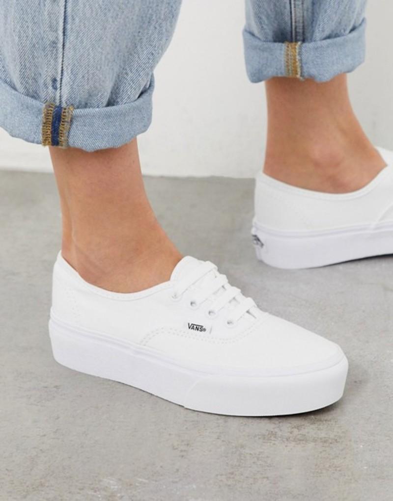 バンズ レディース スニーカー シューズ Vans Authentic Platform 2.0 sneaker in true white True white