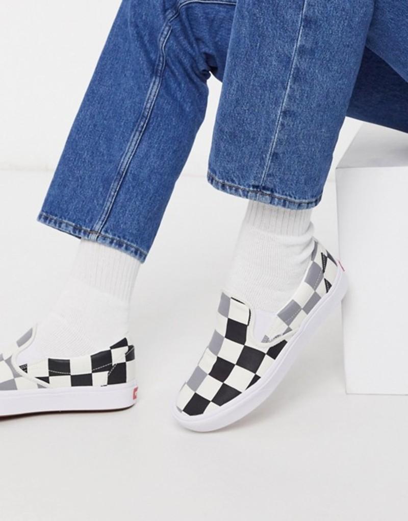 バンズ メンズ スニーカー シューズ Vans ComfyCush Slip-On sneaker in big checkerboard Half big checker bla