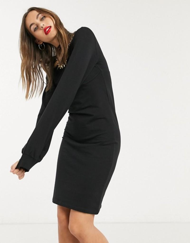 ノイジーメイ レディース ワンピース トップス Noisy May corset sweat dress in black Black