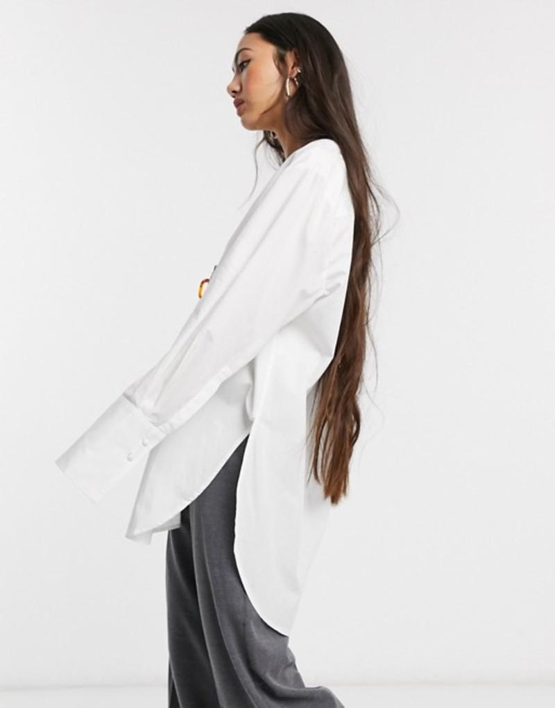 セレクティッド レディース シャツ トップス Selected Femme oversized shirt in white White