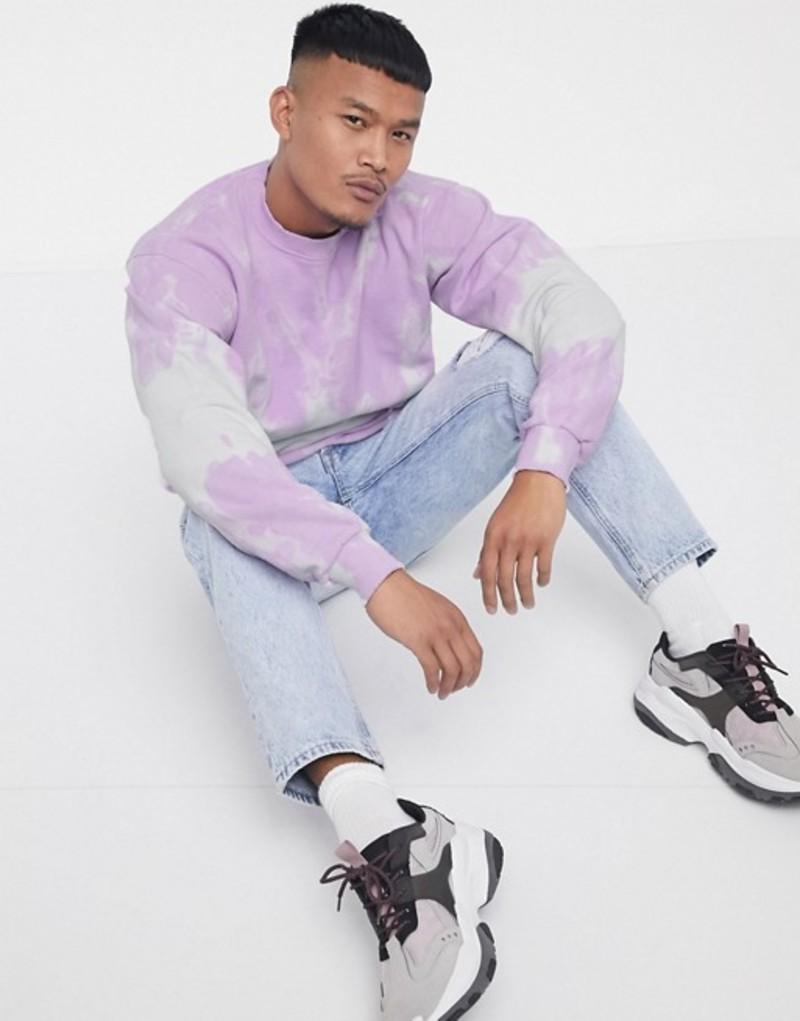 リキュールアンドポーカー メンズ シャツ トップス Liquor N Poker sweatshirt with tie dye stripe in lilac Purple