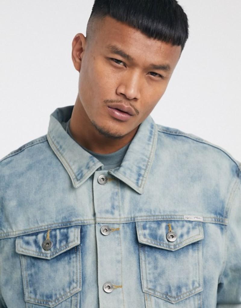 リキュールアンドポーカー メンズ ジャケット・ブルゾン アウター Liquor N Poker two-piece denim jacket in cloud wash blue Blue