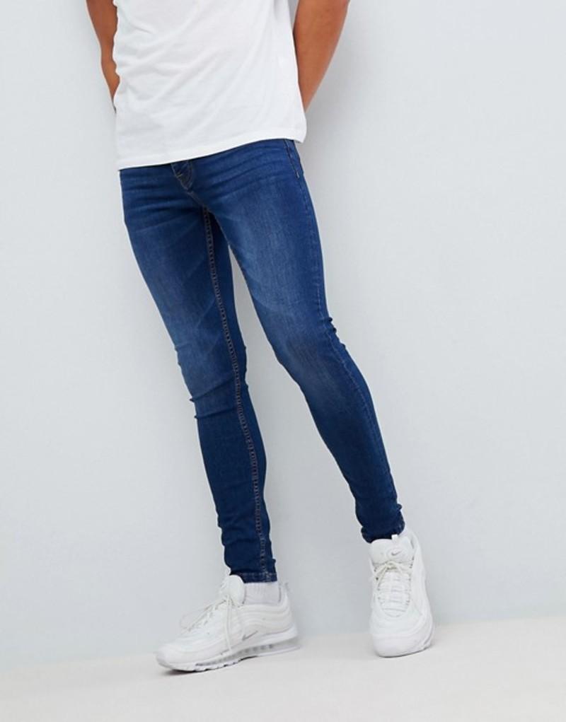 ブーフーマン メンズ デニムパンツ ボトムス boohooMAN super skinny jeans in mid blue wash Mid blue