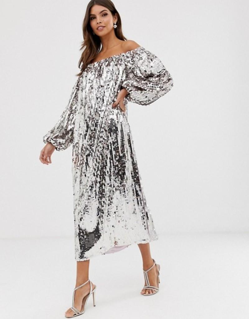 エイソス レディース ワンピース トップス ASOS EDITION off shoulder sequin midi dress Lilac