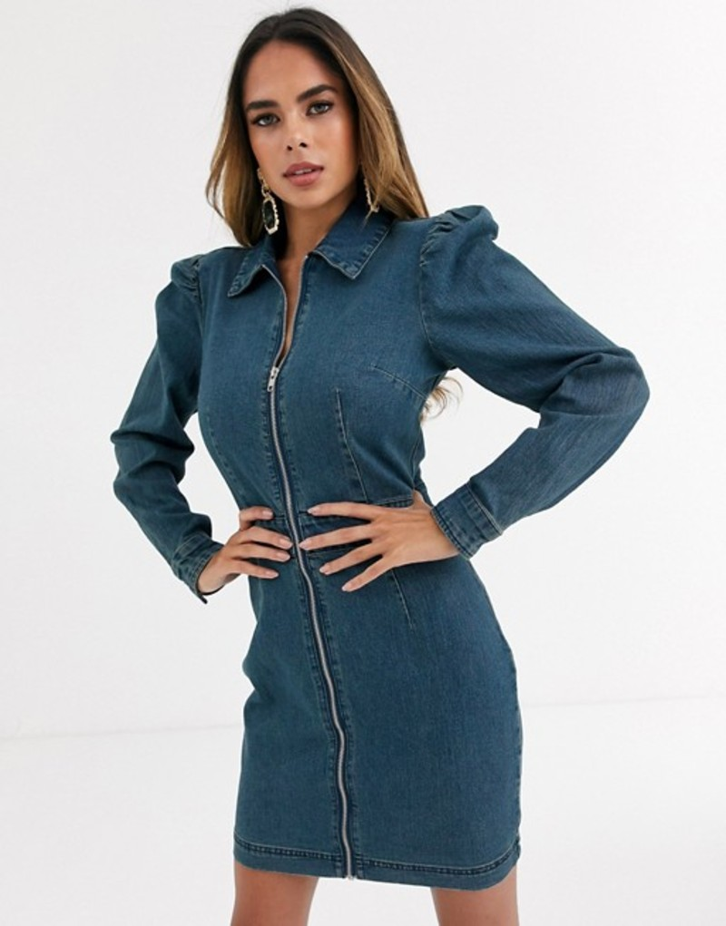 ミスガイデッド レディース ワンピース トップス Missguided zip through denim shirt dress with puff sleeves Blue