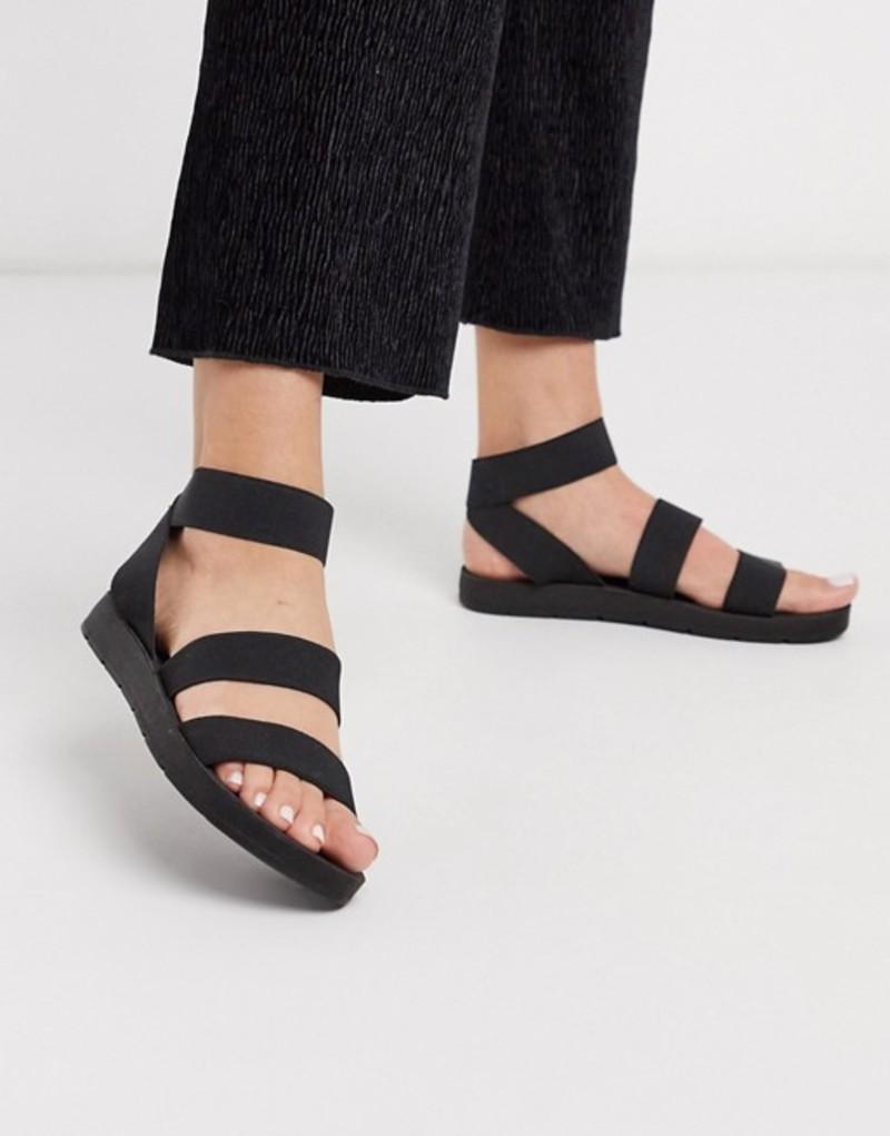 ロンドンレベル レディース サンダル シューズ London Rebel elastic strap flat sandals in black Black