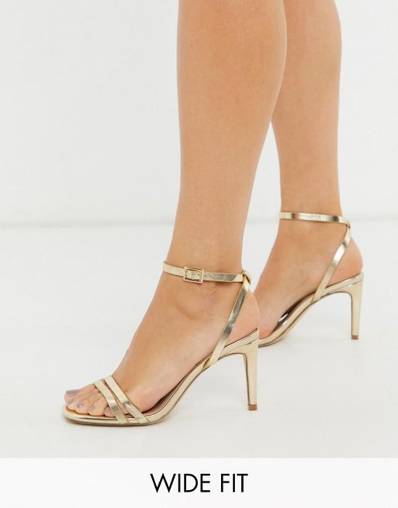 トリュフコレクション レディース サンダル シューズ Truffle Collection wide fit square toe strappy heeled sandals in gold Gold