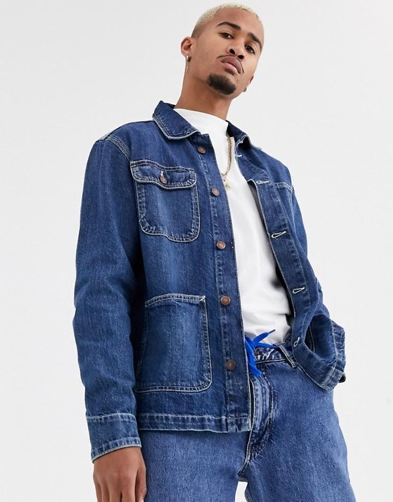 プルアンドベアー メンズ ジャケット・ブルゾン アウター Pull&Bear worker denim jacket in mid blue Med blue