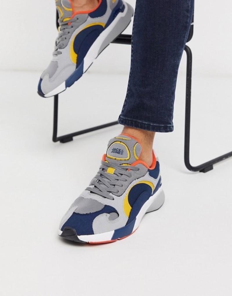 ジャック アンド ジョーンズ メンズ スニーカー シューズ Jack & Jones contrast sneakers in multi Vapor blue