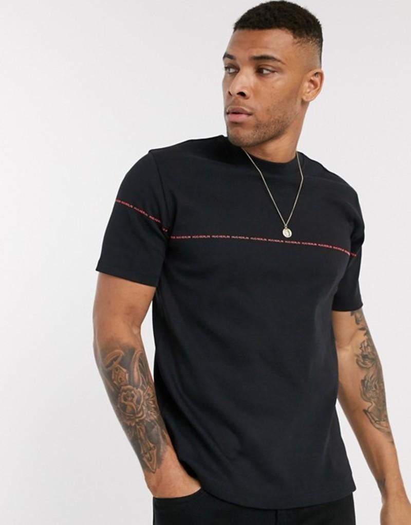 フューゴ メンズ シャツ トップス HUGO Dittle relaxed fit small logo t-shirt in black Black